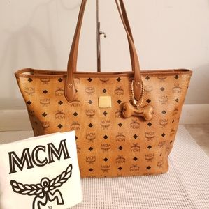 100% Authentic MCM bone charm shopper tote